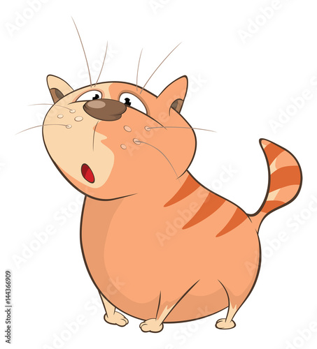 Deurstickers Babykamer Illustration of a Cute Cat. Cartoon Character