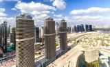 Aerial view of Dubai Jumeirah Lakes Towers skyline