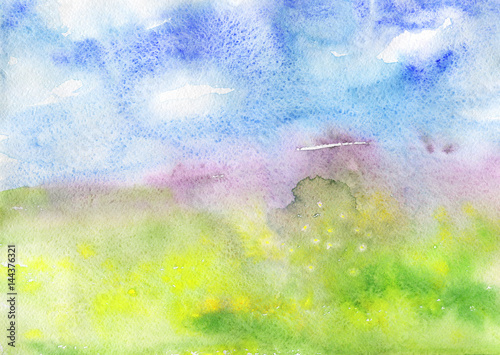 Watercolor abstract background. Hand drawn spring landscape with field flowers, clouds, blue sky and grass. Painting nature illustration