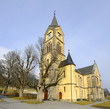 Ramsau - Evangelic church. Known mountain resort under a massive Dachstein near Schladming, Austria
