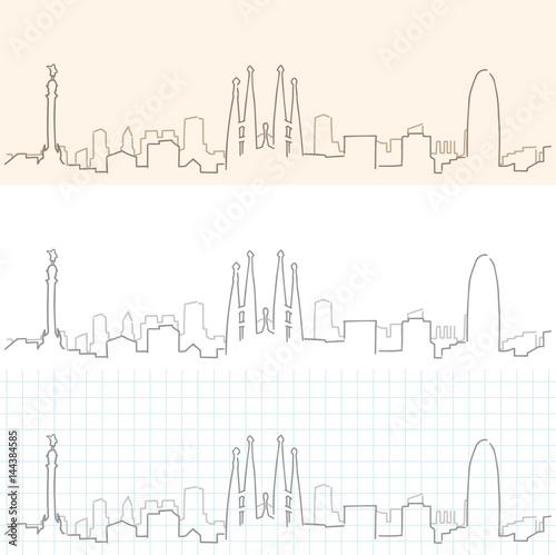 Barcelona Hand Drawn Skyline