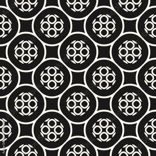 Vector monochrome seamless pattern with geometric figures, perforated circles. Illustration of round mesh, lattice, oriental style. Repeat texture, dark abstract background. Design for prints, covers