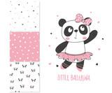 Little panda ballerina. Surface design and 3 seamless patterns