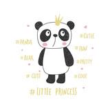 Little panda princess. Nursery vector illustration