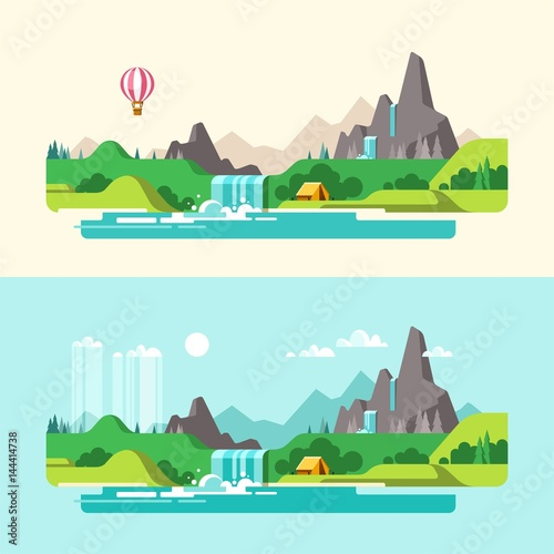 Deurstickers Lichtblauw Summer landscape. Hiking and camping. Weekend in the tent. Vector illustration in flat design style.