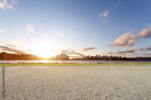 empty ground and sydney opera house and bridge