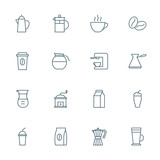 Coffee set of vector icons