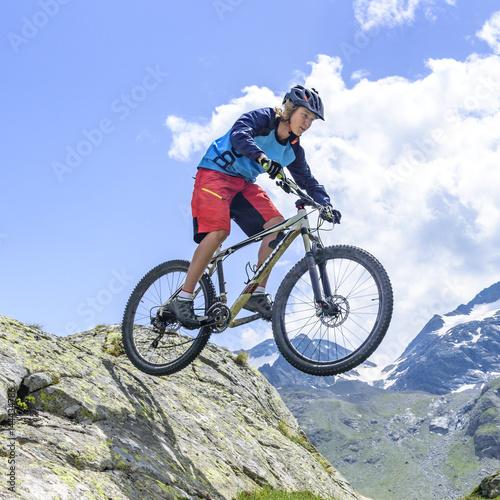 Deurstickers Flugeinlage mit dem Mountainbike