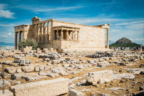 Greece, Athens, August 2016, The Acropolis of Athens, ancient citadel located on an extremely rocky outcrop above the city of Athens. Old Temple of Athena