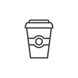 Coffee paper cup line icon, outline vector sign, linear style pictogram isolated on white. Symbol, logo illustration. Editable stroke. Pixel perfect