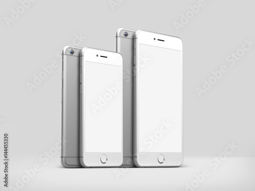 Realistic phone style mockup isolated on light grey background, 3D hight detailed illustration Poster