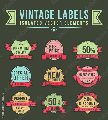 Vintage High Quality Labels with Ribbons on Dark Background . Vector Isolated Illustration