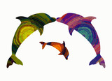 Family of dolphins, abstract pattern