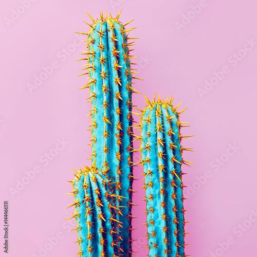 Set Neon Cactus. Minimal creative stillife
