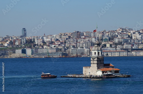 Sea mike in the middle of the Bosphorus Strait in Istanbul Poster