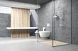 Leinwandbild Motiv Dark gray shower interior