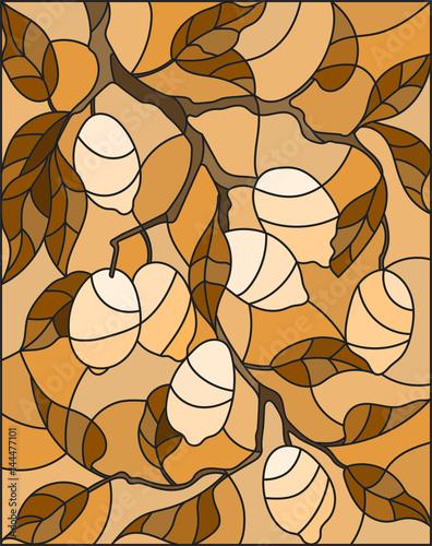 ilustracja-w-stylu-witraza-z-galezi-drzewa-cytrynowego-galezi-i-lisci-owocow-na-tle-nieba-brazowy-ton