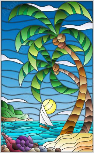 ilustracja-w-stylu-witrazu-z-tropikalnym-morzem-krajobraz-palmy-kokosowe-i-muszle-na-piaszczystej-plazy-zaglowke-z-bialym-zaglem-w-oddali-na-tle-sunny-nieba-i-chmur