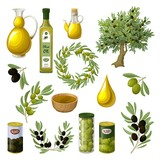 Cartoon Olive Oil Elements Set - 144483729