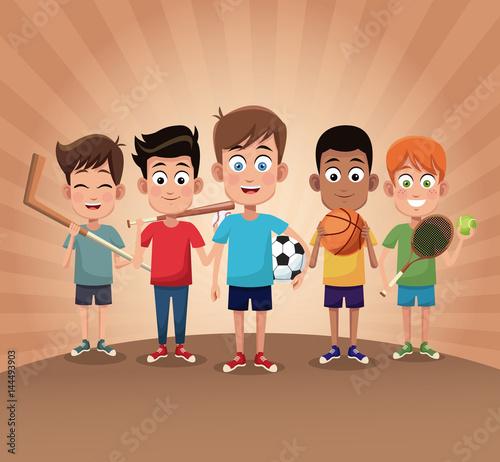 group boy sport exercise game vector illustration eps 10