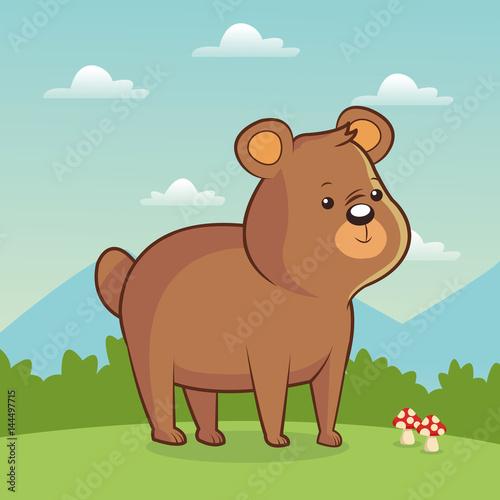cute bear animal with landscape vector illustration eps 10