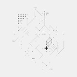 Complex design element in glitch style on white background. Useful for prints, posters and covers.