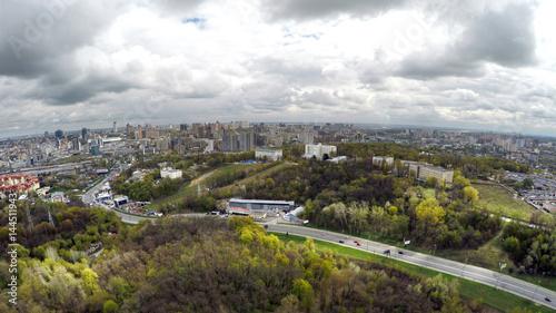 aerial view of Kiev in spring. Protasov Yar street