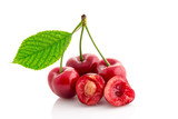 healthy ripe cherry isolated.
