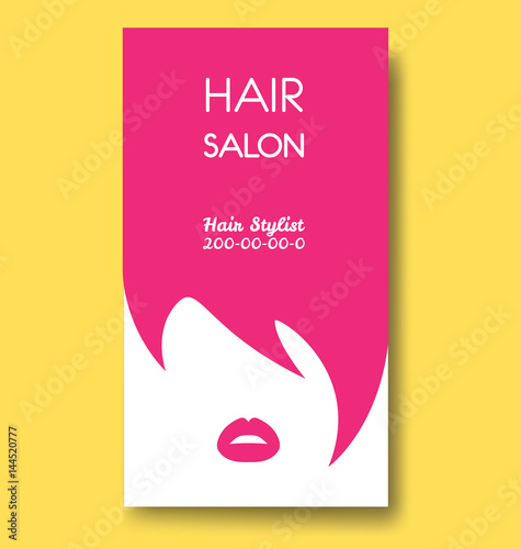 Hair salon business card templates with pink hair and pink lips.
