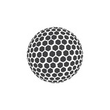 Golf ball icon in black on a white background. Vector illustration