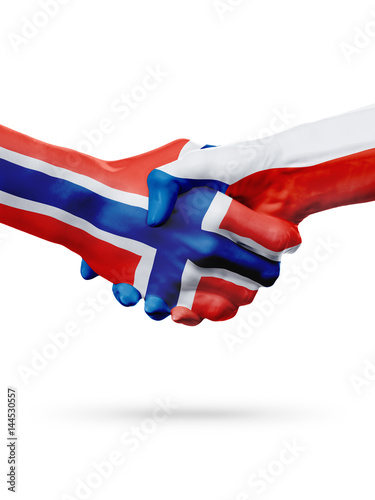 Poster Flags Norway, Czech Republic countries, partnership friendship handshake concept