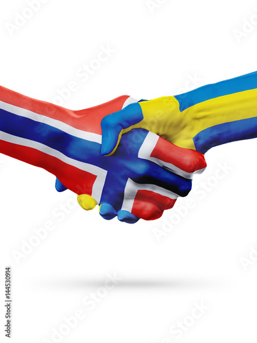 Flags Norway, Sweden countries, partnership friendship handshake concept Poster
