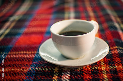 Poster Coffee Cup on Tartan