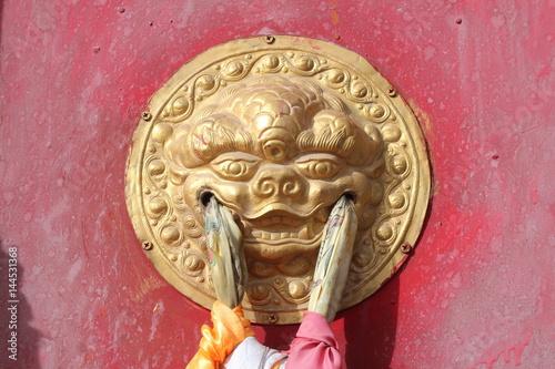 Amdo Tibet Tibetan Monastery Monasteries Monastic Door Gate Doors Gates Red Pray Poster