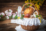 Traditional Easter basket with food. - 144532505