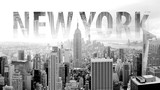 New York in black and white postcard with lettering