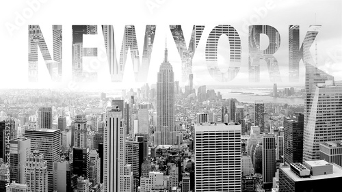 Naklejka New York in black and white postcard with lettering