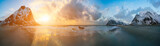 Fototapety sunrise in arctic sea and mountain in horizon