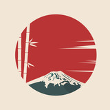 Japanese symbols mount Fuji and bamboo on background of red sun. Vector illustration.