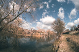 Spring landscape near the fisheye river.