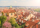 red tiled rooftops of european city on sunny spring day