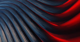 Metallic Reflection. Silver 3D Abstract red and blue metal background