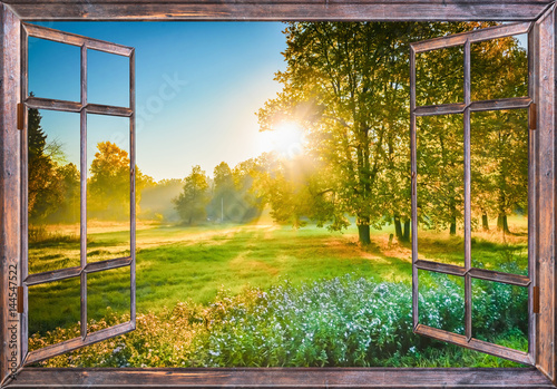 sunrise view from the window Poster
