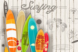 Surfing Retro Poster - 144551914