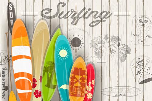 Fototapeta Surfing Retro Poster