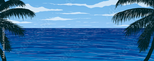 Vector illustration. Silhouettes of palm trees on background of blue ocean.