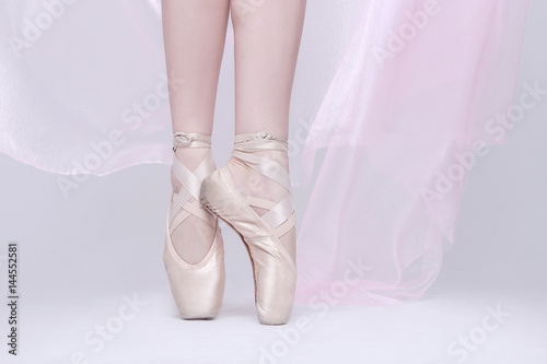 Dancer In Pink Pointe Shoes Using Proper Technique Poster