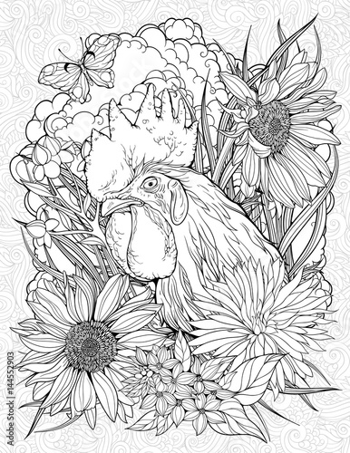 coloring page with rooster and butterfly