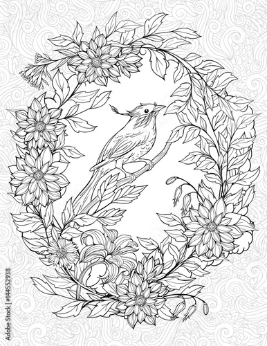 coloring page with small bird on a branch