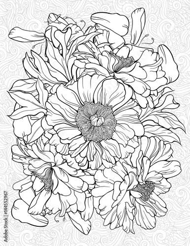 coloring page with various flowers